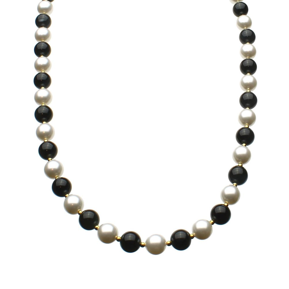 Joyful Creations 8mm Black Onyx Stone Simulated Pearls Sterling Silver Necklace, 18''+2'' Extender Made with Swarovski