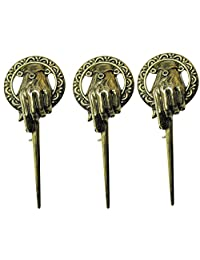 Genenic 3 Pcs Vintage Game Thrones Hand The King Lapel Replica Costume Pin Brooch New