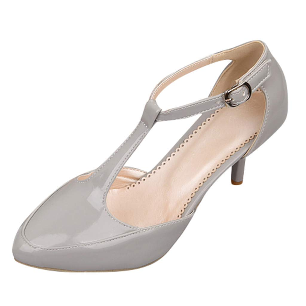 Clearance! Swiusd Women's Stiletto PU Leather Ankle Strap Buckle Thin Heel Party Single Shoes Elegant Office Lady Work Shoes (Gray, US 6.5-7) by Clearance! Swiusd