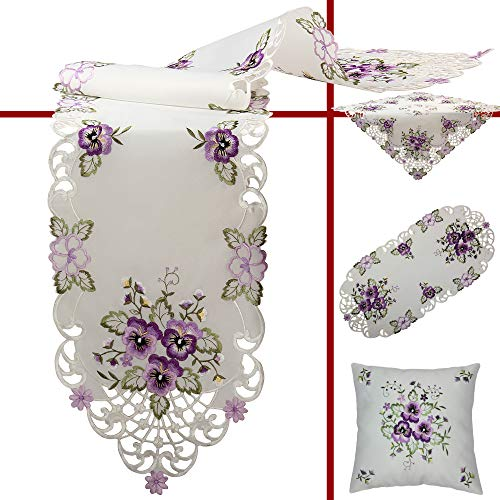 Quinnyshop Purple Pansy Embroidery Table Overlay 24-inch/ 60 cm Round Polyester, White