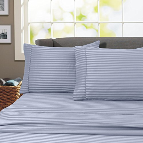 London Collection 800 Thread Count Wrinkle Resistant Woven Stripe 100% Egyptian Cotton 4 Piece Sheet Set (Queen, Blue)