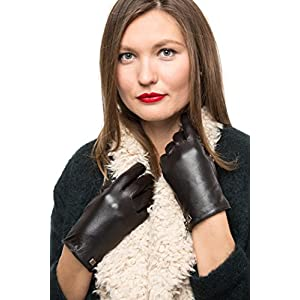 Nappa Leather Zipper Glove For Women, Touchscreen Cold Weather - Thinsulate Lined Gloves - Dark Chocolate - Large