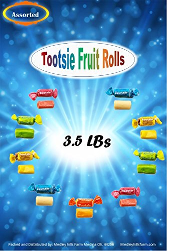 Tootsie chewy Fruit Rolls Assorted Flavors 3.5 Lbs individually wrapped by Medley Hills Farm (Image #3)'