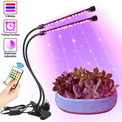 Grow Light, 44W Plant Lights for Indoor Plants,Timing LED Grow Lamp with Remote Control 4 Dimmable Levels 3 Switch Modes Red Blue Full Spectrum, Adjustable Gooseneck Led Grow Lights for Greenhouse