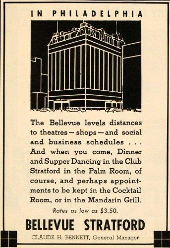 1935 Ad Bellevue Stratford Hotel Bennett Philadelphia - Original Print - Center Bellevue