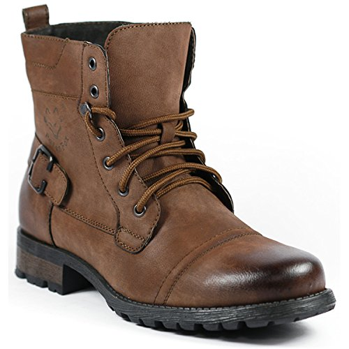 Polar Fox MPX-508006 Brown Mens Military Combat Work Desert Ankle Boot w/ Leather Lining (10)