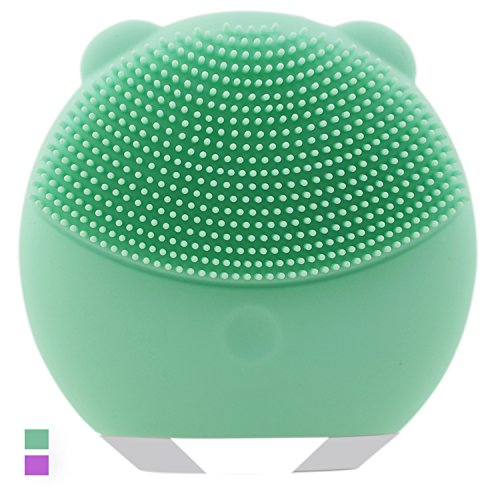 SEXBAY Silicone Sonic Facial Cleansing Brush and Electric Face Massager for All Skin Types Exfoliating Deep Cleansing System Rechargeable Facial Cleanser Waterproof (Green)