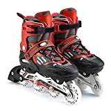 YANGXIAOYU Adult Beginners Children's Inline Skates, Professional Roller Shoes, Anti-Collision Shock All Flash Aurora Wheel, Aluminum Bracket Skating Bag + Protective Gear + Accessories