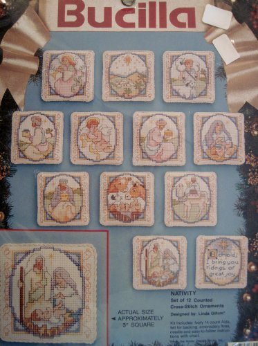 (BUCILLA: Nativity Set of 12 Counted Cross Stitch Ornaments - Approx 3x3 Inches each, #83045)