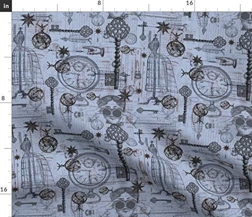 (Spoonflower Victorian Fabric - Ephemera Fashion Steampunk Clock Pocket Watch Dress Form Print on Fabric by The Yard - Chiffon for Sewing Fashion Apparel Dresses Home Decor)