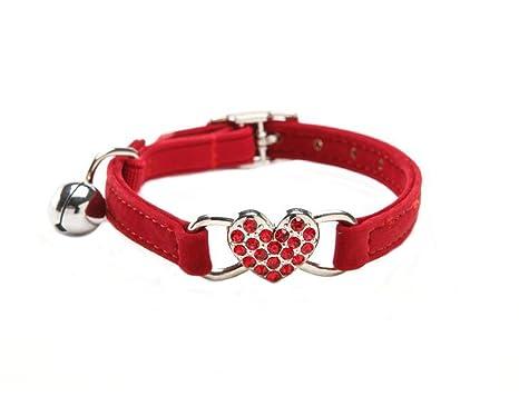BbearT Collar de Gato, Pequeño Perro Cachorro Collar con Campana Seguridad Elástico Ajustable Suave Terciopelo