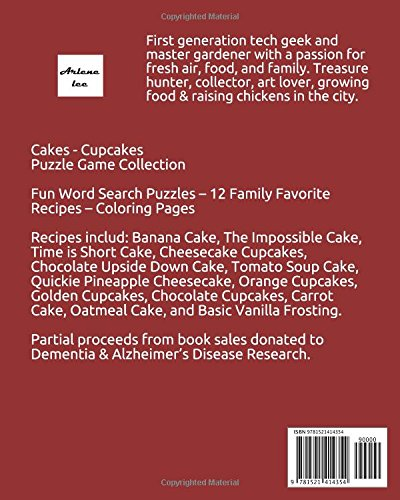 cakes and cupcakes recipes puzzle game collection word search and coloring pages arlene lee 9781521414354 amazoncom books