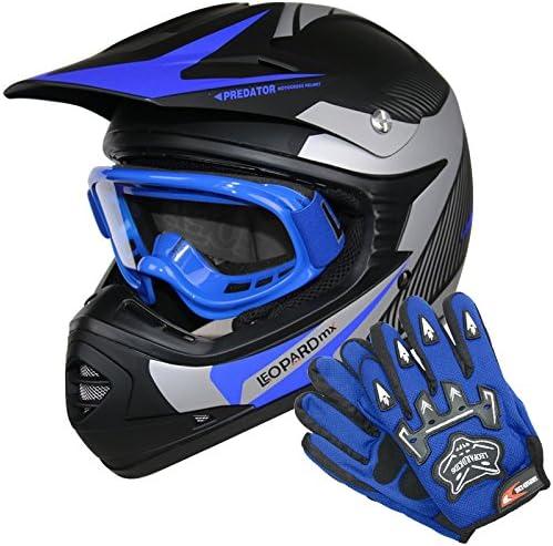 9-10 Yrs Leopard LEO-X19 PREDATOR { Kids Motocross Helmet /& Gloves /& Goggles Blue XL } Child Dirt Bike Motorocycle Helmet Clothing Suit L