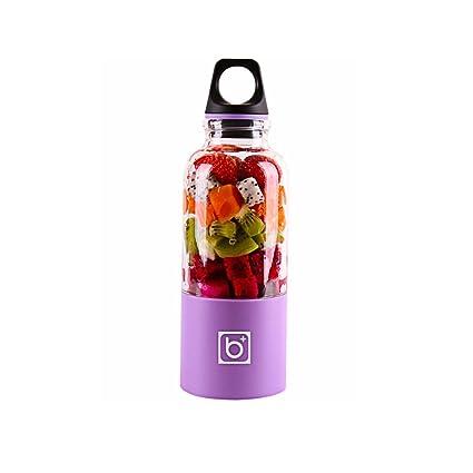 Pawaca USB Fruit Juicer Coupe fruits taille S personnelle, Poker, portable rechargeable jus Blender électrique pour Home Voyages travaillent à l'extérieur – (500ml, multicolore) lilas