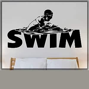 Etiqueta de la pared de natación piscina hogar arte etiqueta de la ...