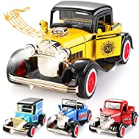Geyiie Small Cars Toys for Toddlers, Pull Back Vehicles Classical Cars, Die Cast Toys with Sounds and Lights 4pack, Flexible Open Door for Kids 3-16 Years Old