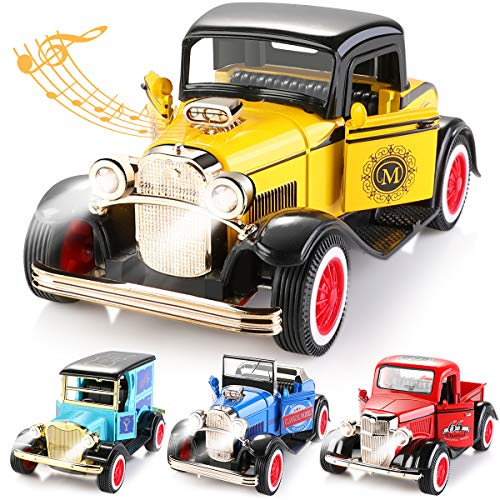 GEYIIE Small Cars Toys for Toddlers, Pull Back Vehicles Classical Cars, Die Cast Toys with Sounds and Lights 4pack, Flexible Open Door for Kids 3-16 Years Old (Lights Car Sound)