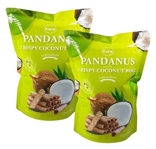 Thai Snack (Kaew Thai Pandanus Crispy Coconut Roll Pandan Flavor 100 g. (Pack of 2))