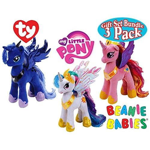 TY Beanie Babies My Little Pony Princess Cadence, Princess Luna & Princess Celestia Gift Set Bundle - 3 Pack