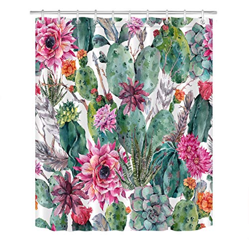 Palm Desert Shower Curtain - LB Tropical Desert Plant Cactus Succulent Shower Curtain Fabric Cacti Flower Bathroom Curtains Set with Hooks,Waterproof Polyester Fabric 60x72 inch