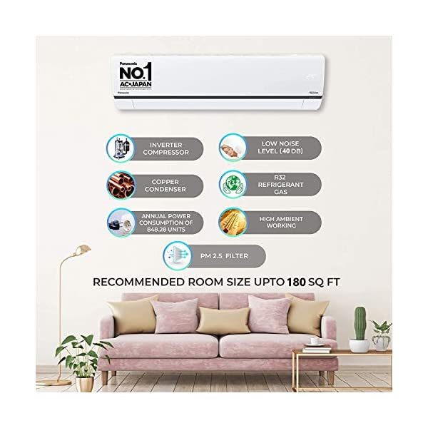 Panasonic 1.5 Ton 5 Star Wi-Fi Twin-Cool Inverter Split Air Conditioner (Copper, Shield Blu Anti-Corrosion Technology… 2021 July Wi-Fi Split AC with Inverter compressor: Variable Speed Inverter Compressor which adjusts power depending on heat load. It is most energy efficient and has lowest-noise operation | Seamless hands-free operation and Voice Control with Alexa and Google Assistant Capacity: 1.5 Ton - Suitable for medium sized rooms (121 to 180 sq ft) | Equipped with Powerful and Dry Mode for different cooling needs Energy Star Rating: 5 Star | Annual Power Consumption: 848.28 kWh | ISEER: 4.7