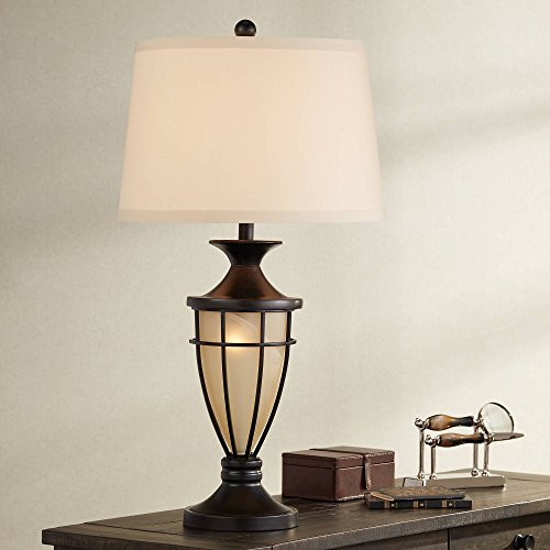Mission Table Lamp with Nightlight Champagne Glass Brushed Iron Cage Beige Fabric Shade for Living Room Family - John Timberland