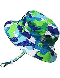 Baby Toddler Kids 50+ UPF Size Adjustable Bucket Sun Hat with Chin Strap Shirt & Shorts Set, Aqua Dry