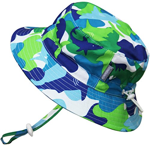 Kids Summer Quick Dry Swim Sun Hats 50 UPF, Adjustable Foldable Packable (L: 2-5Y, Blue Shark)