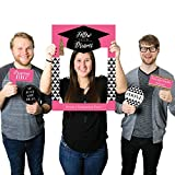 Big Dot of Happiness Custom Dream Big - Personalized Graduation Party Selfie Photo Booth Picture Frame & Props - Printed on Sturdy Material
