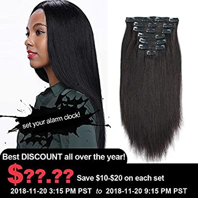 AmazingBeauty Real Remy Thick Perm Yaki Natural Black Clip Extensions for African American Relaxed Hair 7 Pieces 14 to 20 Inch 120 Gram Per Set