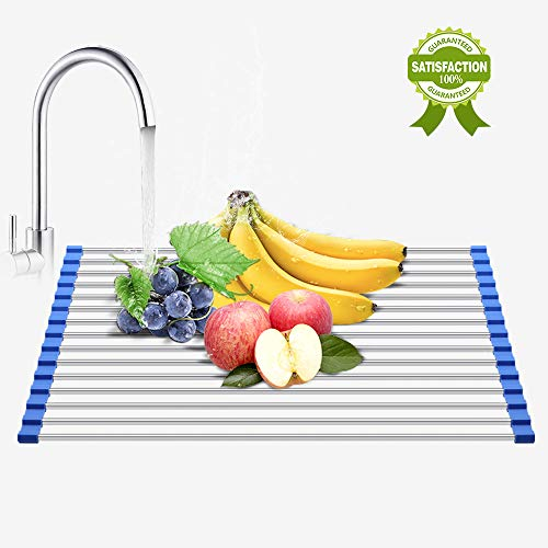 - Roll-Up Dish Drying Rack,Foldable,304 Stainless Steel,Stains 0ver the Sink Dish Drainer Rack Multipurpose, 21.7 L x 13.1 W x 0.5 H by Bluetube Homes (blue-2)