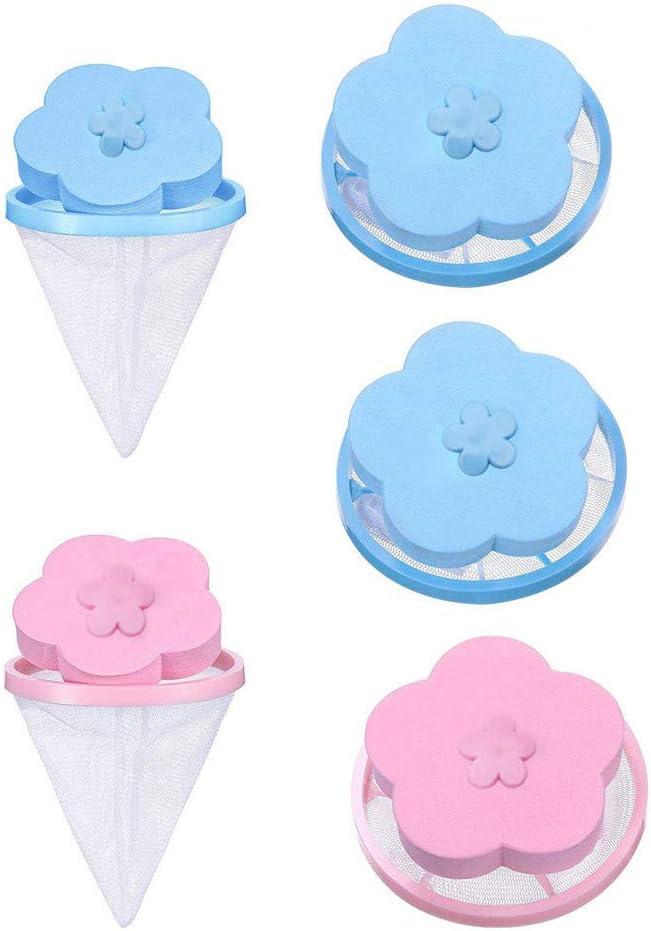 Removedor de pelo de mascotas, lavadora, quitapelos para ropa, reutilizable, bolsa de filtro atrapa pelusas, bolsa de filtro flotante de malla (azul y rosa)