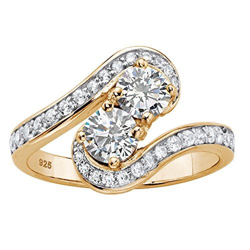 14K Yellow Gold over Sterling Silver Round Cubic Zirconia 2-Stone Bypass Ring Size 7 (Two Ring Stone Bypass)