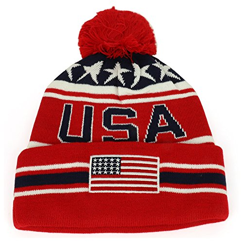 Armycrew New USA American Flag Embroidered Pom Pom Cuff Beanie Hat - Red - New Usa