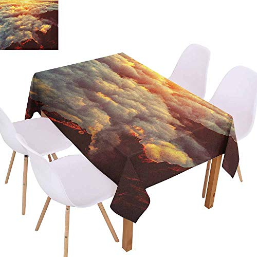 Wrinkle Resistant Tablecloth Clouds Sunset on The Hill Tops Above The Clouds Unusual Extreme Morning Glory Print and Durable W59 xL71 Orange White - Morning Cart Glory