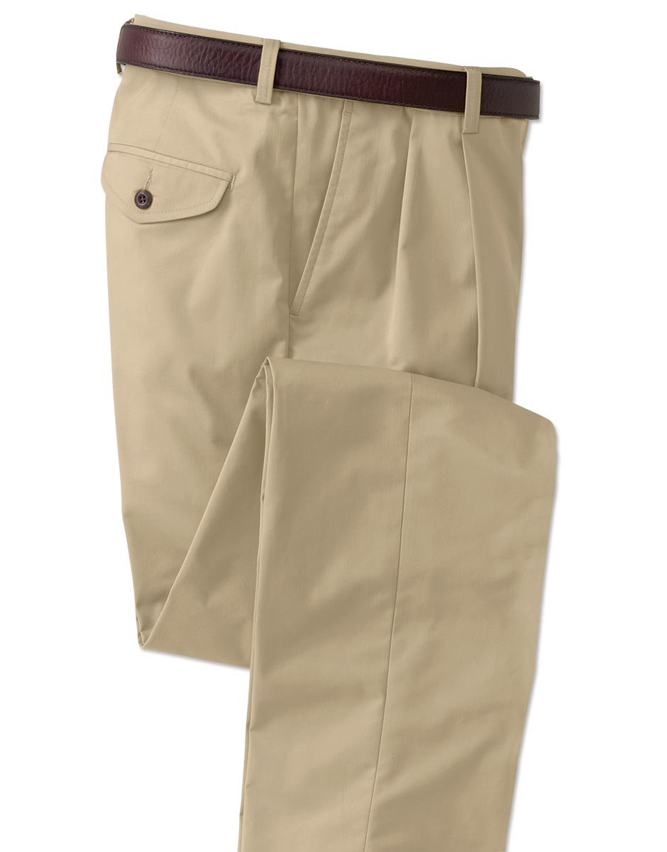 Orvis Men's World's Most Comfortable Cotton-blend Chinos - Pleated Front, Khaki, Cuffed, 36W X 30 1/4L