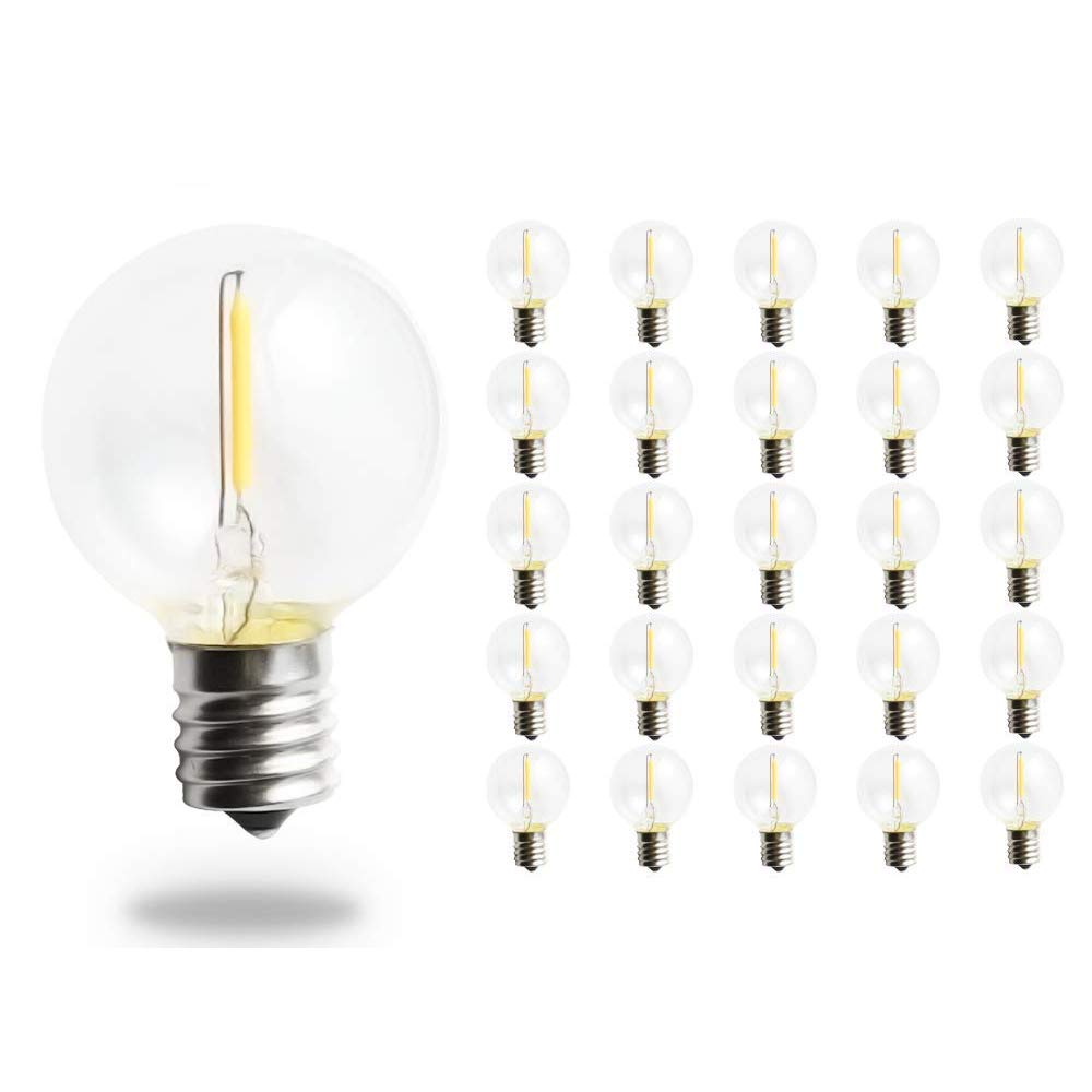 Pack of 25 G40 LED String Lights Replacement Bulb E12 Screw Base Warm White 2700K Retro Style Glass Light Bulbs 360 Grad Beam Angle Non-Dimmable