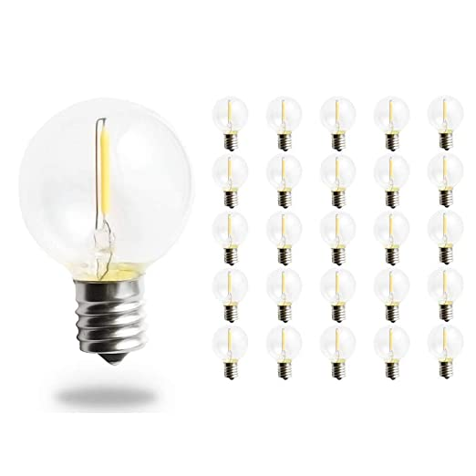Svater Bombillas de Repuesto G40 LED para Luces de Cadena Aire Libre E17 1W Blanco Cálido