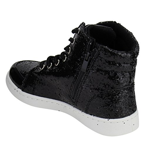 Black Forever Fashion Fitness Booties Top Glitter Link Hi Ankle Trainer Lace Sneakers Up Womens CCaO6Fq
