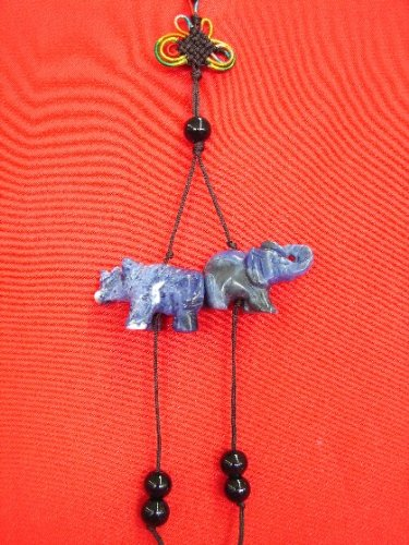 Blue Rhinoceros and Elephant Charm