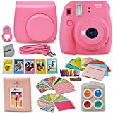 Fujifilm Instax Mini 9 Instant Fuji Camera FLAMINGO PINK (NEW 2017 Release) + Accessories Bundle + Custom Matching Case + Photo Album + Assorted Frames + 4 Color Filters + 60 Sticker Frames + MORE