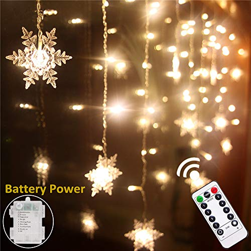 Senofun Christmas Warm White Snowflake Curtain Light Home Party Decoration Fairy Lights 16Snowflake 80Mini LED 9.85ft Light Color Chaging String Lights for Holiday Decor (Battery Operated) -