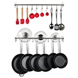 WALLNITURE Kitchen Wall Mount Rail Towel Bar Rack with Hooks Stainless Steel 31.5'' Inch Set of 2