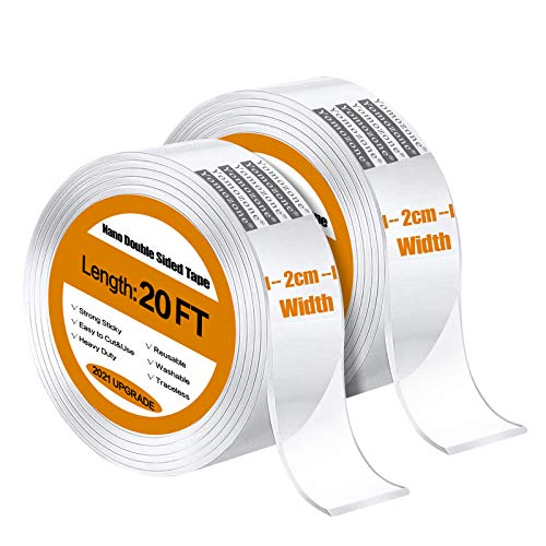Double Sided Tape Heavy Duty, Multipurpose MountingTape Upgraded 1.97 in Width, Nano Tape Washable Removable Double Sided Sticky Strips Seamless Traceless Tape for Paste Items Tool,Carpet (17ft)