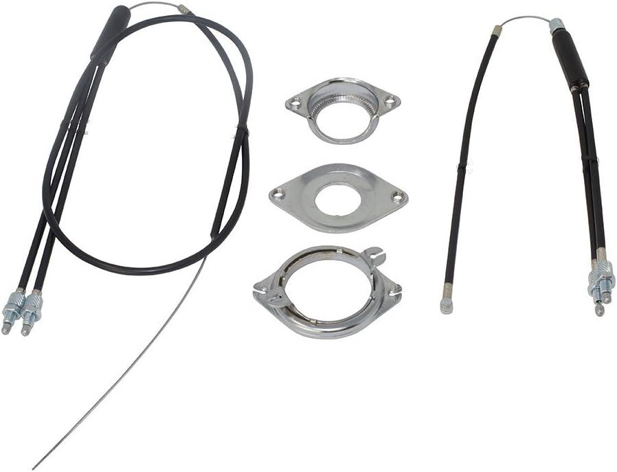 white BMX Bike Gyro Brake Cable Front+Rear Upper+Lower Spinner Rotor Set Kit