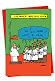 C6141XSG-B12x1 Box Set of 12 'Insane Choir' Hilarious Christmas Greeting Card Featuring a Chorus of the Insane Wishing You a Happy Holiday, with Envelopes