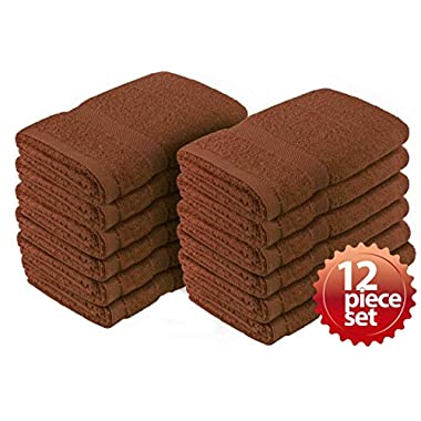 "12PC Crover Essentials Fast Drying Super Absorbent Terry Cloth 100%Cotton Salon Towel, Kitchen Hand Towel Brown 16""x27"""