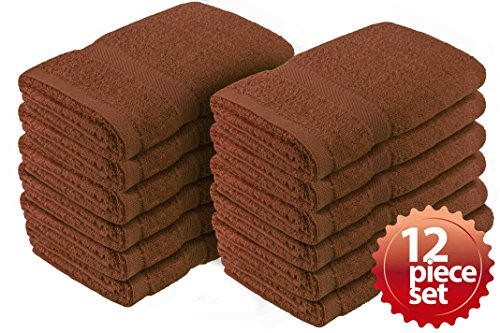 """Crover 12PC Essentials Fast Drying Super Absorbent Terry Cloth 100% Cotton Salon Towel, Kitchen Hand Towel Brown 16""""x27"""" by Crover"""