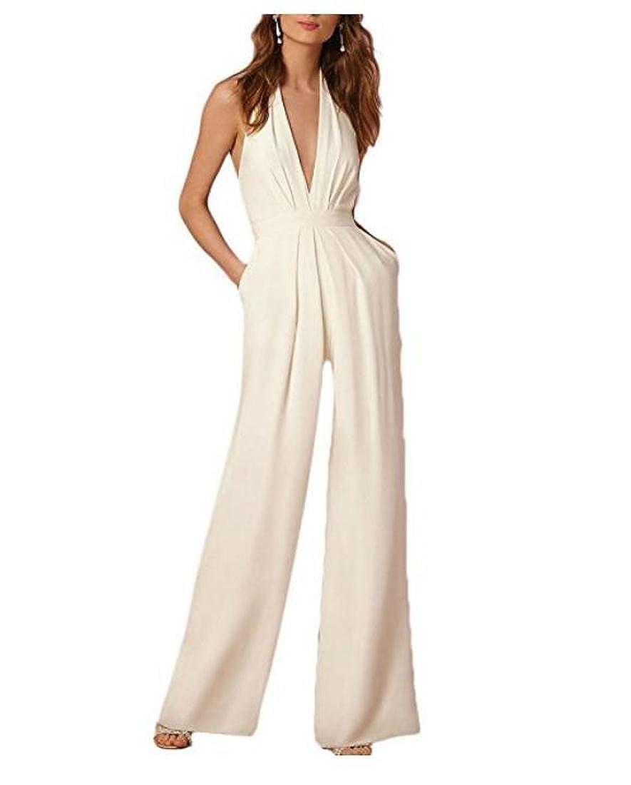6c70f05c8080 Dihope Femme Combinaison V Cou Jumpsuit 1  2 Manches Romper Casual Bodysuit  Overall Playsuit