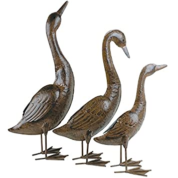 Metal Set Of 3 Gaggle Of Geese Garden Ornament